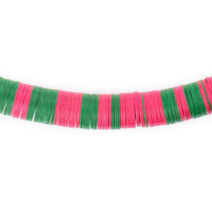 Pink & Green Vintage Vinyl Phono Record Beads (12mm) - The Bead Chest