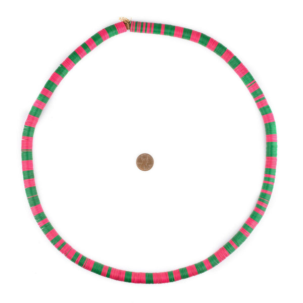 Pink & Green Vintage Vinyl Phono Record Beads (12mm)