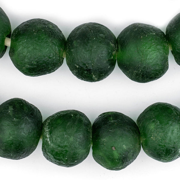 Super Jumbo Green Recycled Glass Beads (35mm) - The Bead Chest