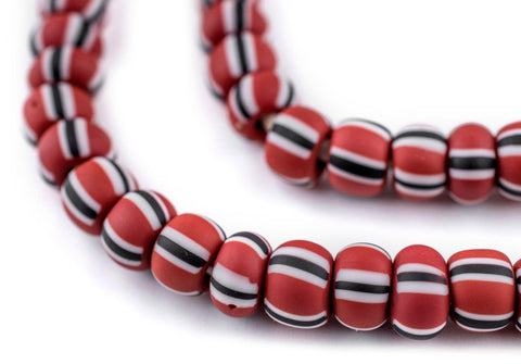 Image of Matte Brown & White Ghana Chevron Beads (8mm) - The Bead Chest