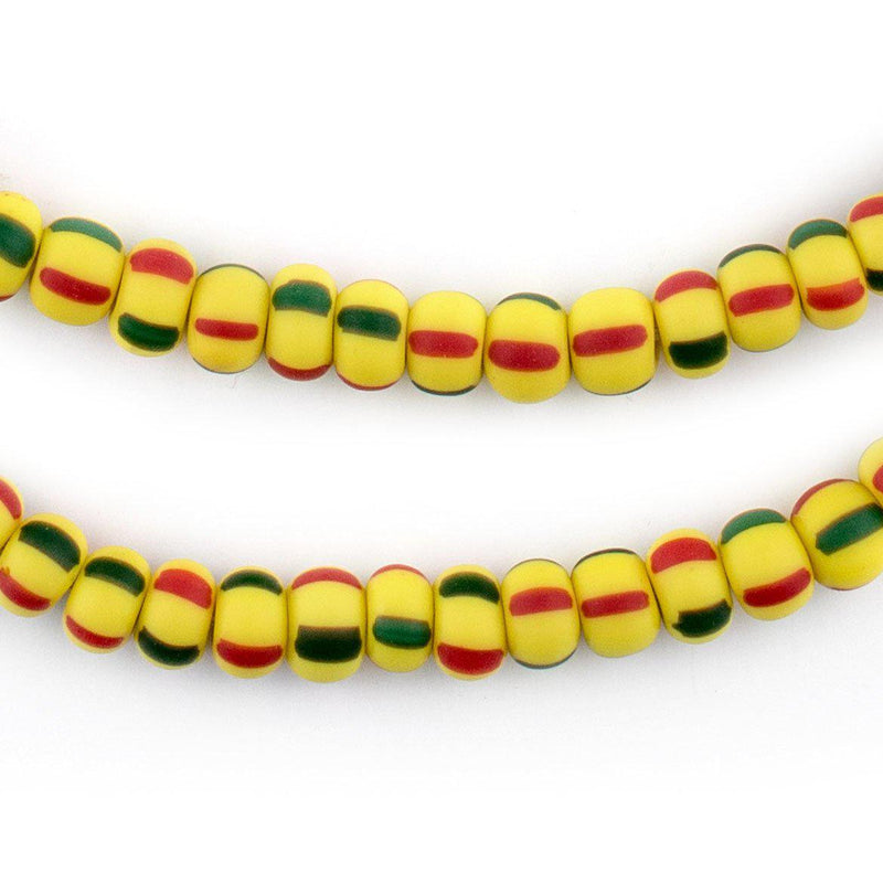 Matte Yellow Green & Red Ghana Chevron Beads (7mm) - The Bead Chest