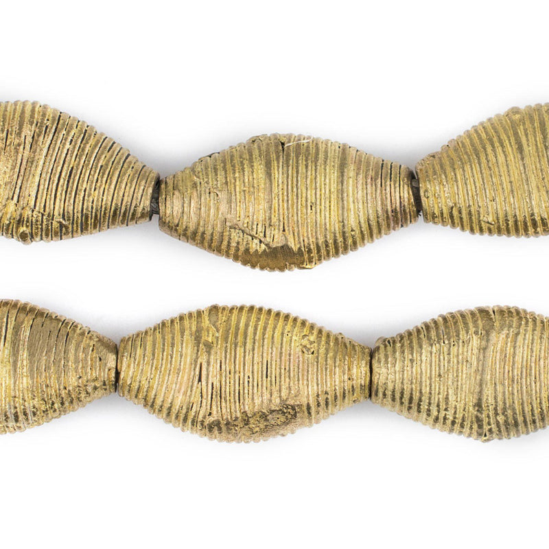 Wound Flattened Bicone Ghana Brass Beads (31x17mm) - The Bead Chest