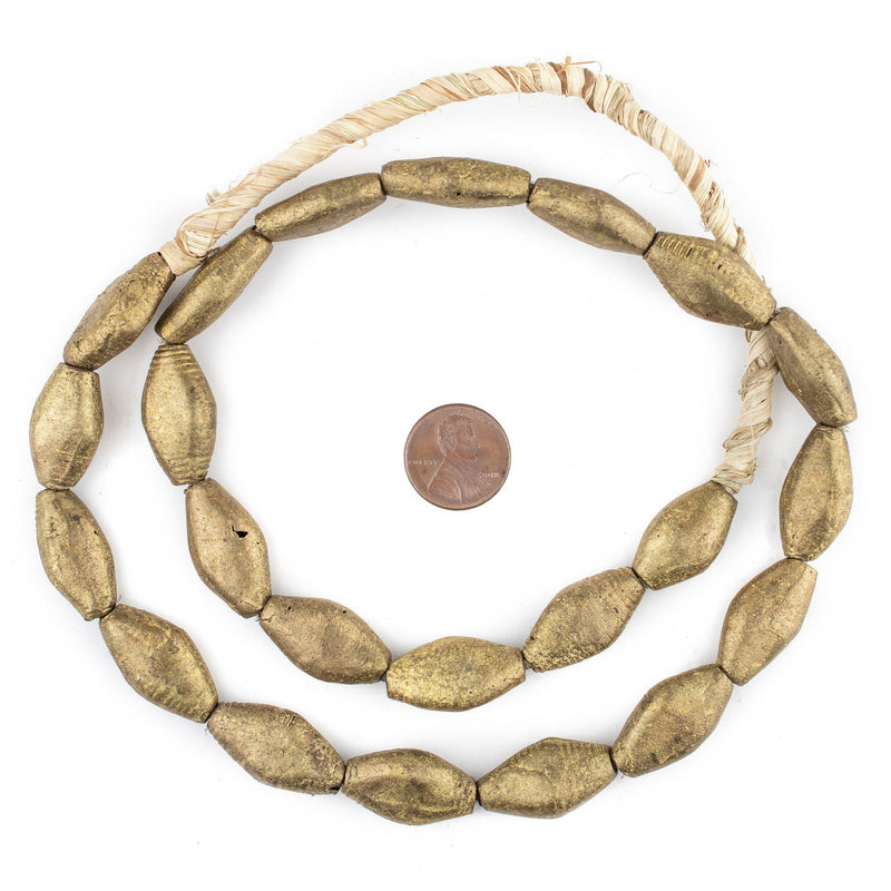 Flattened Bicone Cameroon Brass Beads (24x14mm)