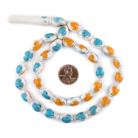 Image of Turquoise & Amber Color Inlaid Camel Bone Arabian Prayer Beads (14x9mm) - The Bead Chest