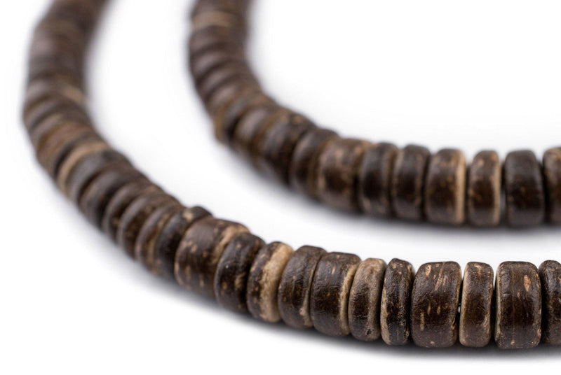 Chocolate Disk Coconut Shell Beads (8mm) - The Bead Chest