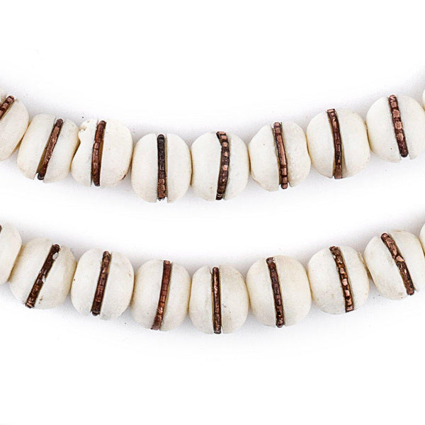 Copper-Inlaid White Bone Mala Beads (10mm) - The Bead Chest