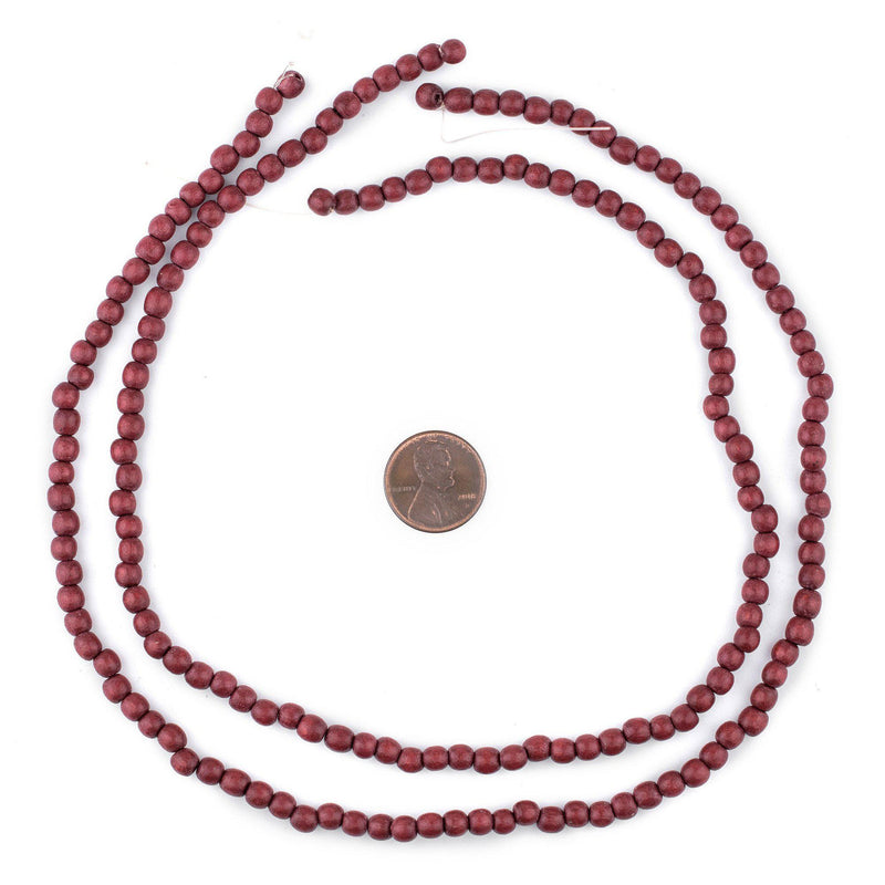 Cherry Red Round Natural Wood Beads (5mm) - The Bead Chest