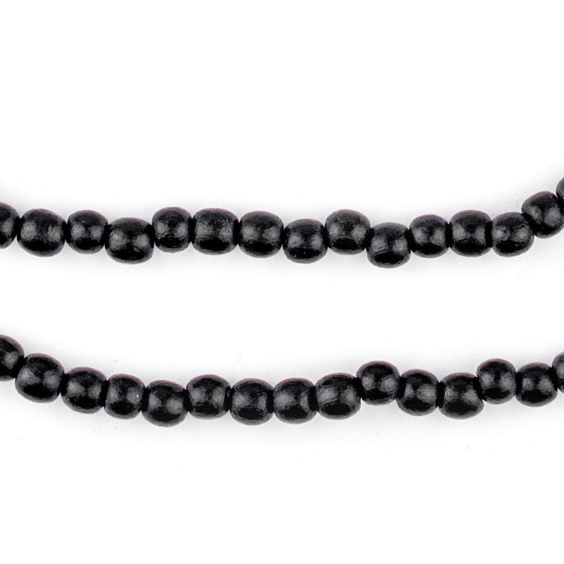 Black Round Natural Wood Beads (5mm) - The Bead Chest