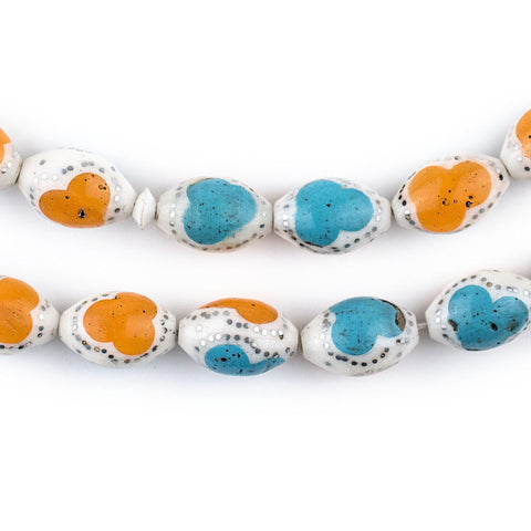 Turquoise & Amber Color Inlaid Camel Bone Arabian Prayer Beads (14x9mm) - The Bead Chest