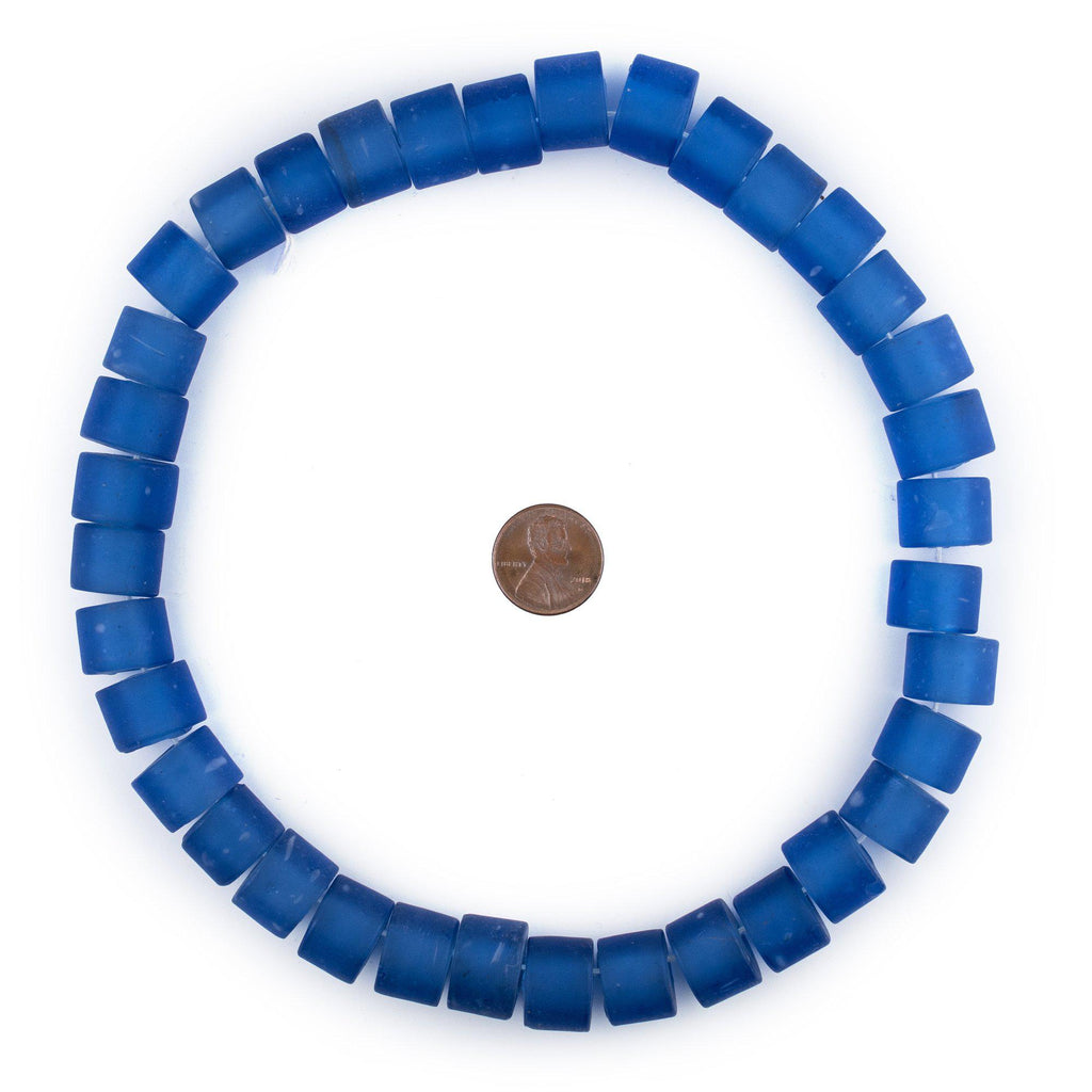 Blue Tabular Recycled Glass Beads (16mm)