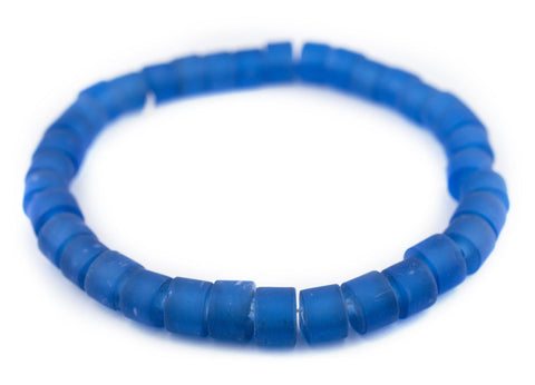 Image of Blue Tabular Recycled Glass Beads (16mm)