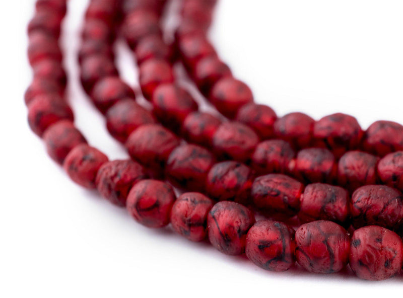 Red Black Swirl Recycled Glass Beads (7mm) - The Bead Chest