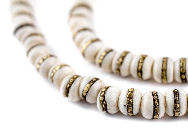 Brass-Inlaid White Bone Mala Beads (6mm) - The Bead Chest
