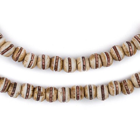 Copper-Inlaid Rustic Bone Mala Beads (6mm) - The Bead Chest
