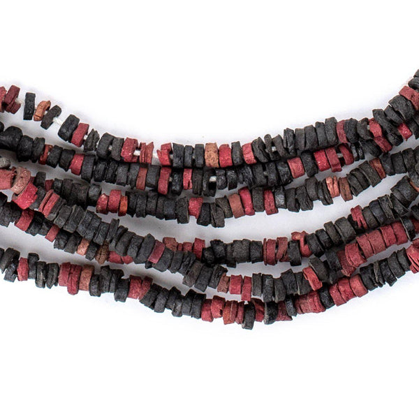 Crimson & Black Pharaonic Pottery Beads - The Bead Chest