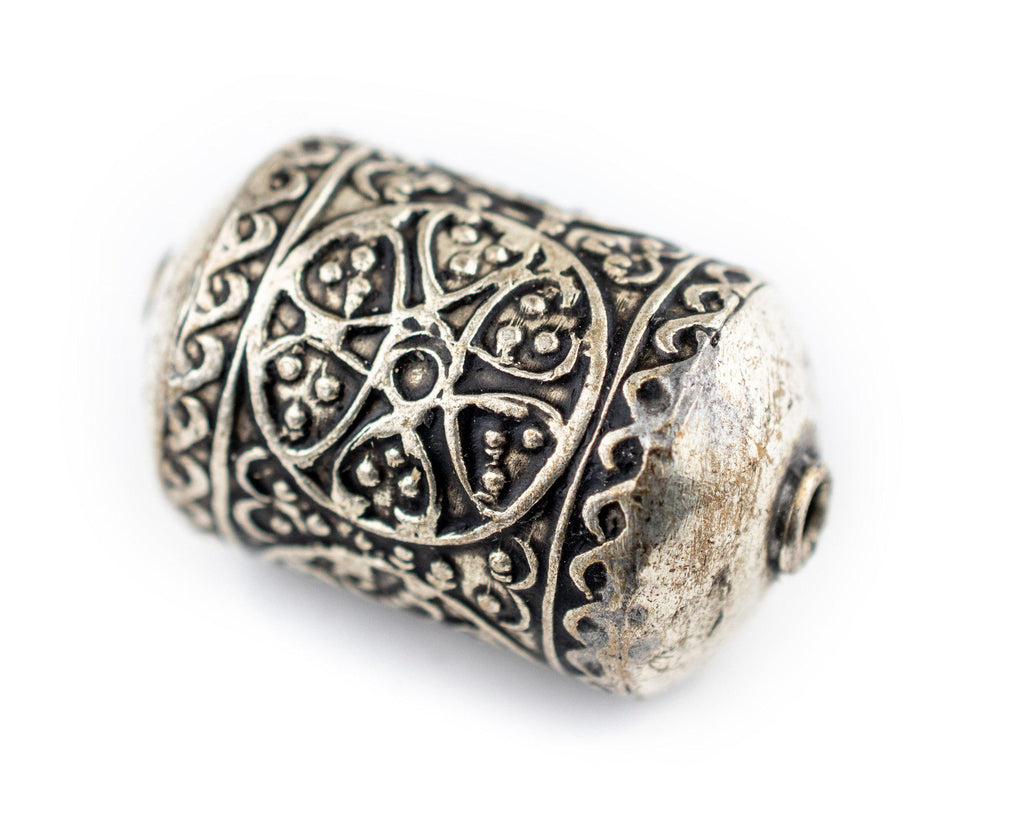 Oval Silver Artisanal Berber Bead (30x20mm) - The Bead Chest