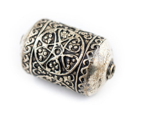 Image of Oval Silver Artisanal Berber Bead (30x20mm) - The Bead Chest