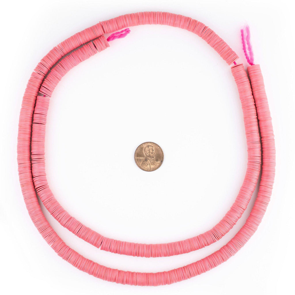 Neon Pink Vinyl Phono Record Beads (8mm) - The Bead Chest