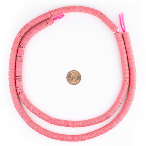 Image of Neon Pink Vinyl Phono Record Beads (8mm) - The Bead Chest