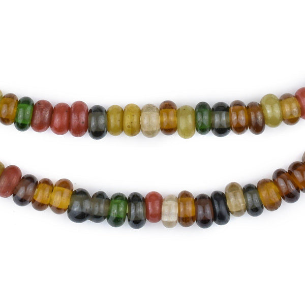 Faded Medley Baby Rondelle Java Glass Beads