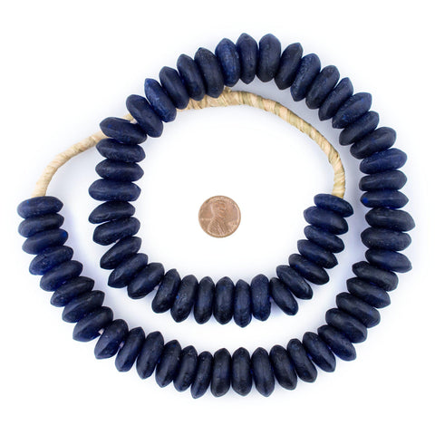 Jumbo Cobalt Blue Rondelle Recycled Glass Beads - The Bead Chest