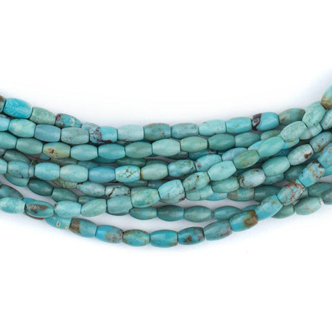 Blue Turquoise Rice Beads (5x3mm) - The Bead Chest