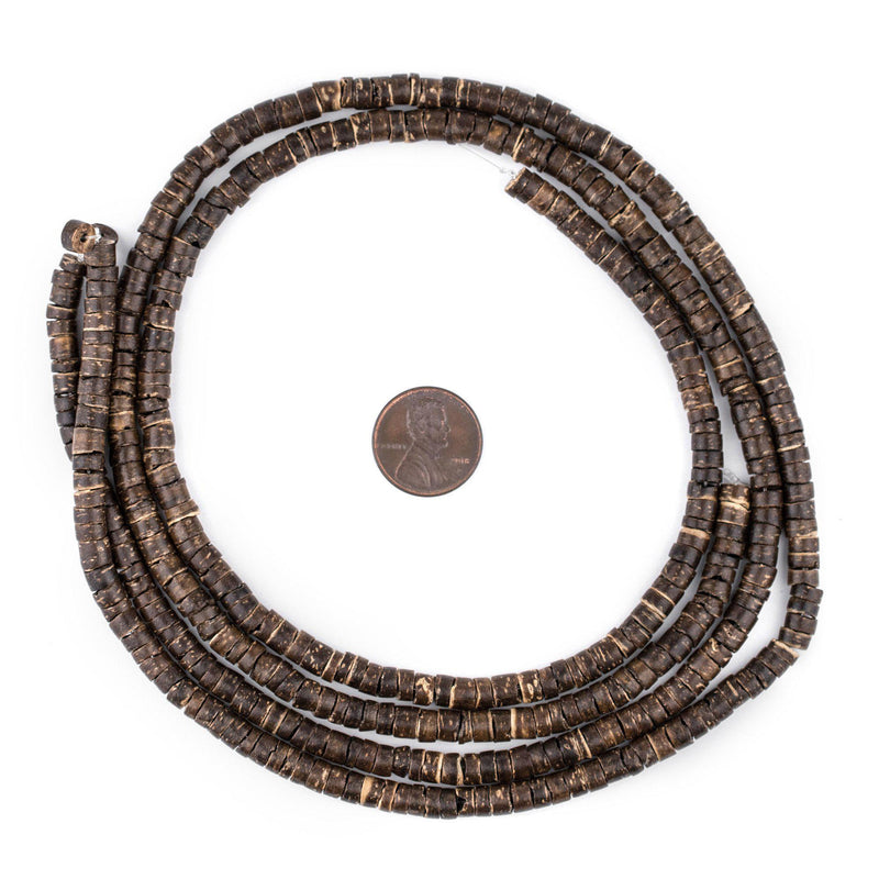 Chocolate Heishi Coconut Shell Beads (5mm) - The Bead Chest