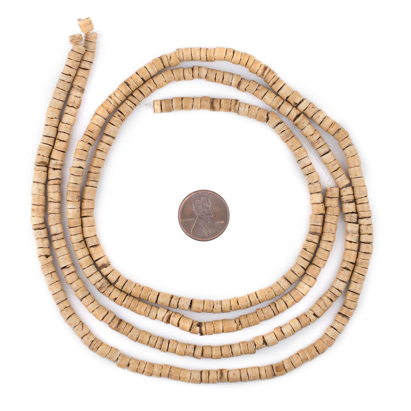 Cream Heishi Coconut Shell Beads (5mm) - The Bead Chest