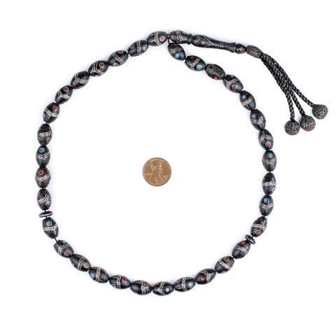 Oval Antique Silver Inlaid Black Coral Beads from Yemen (14x9mm) - The Bead Chest