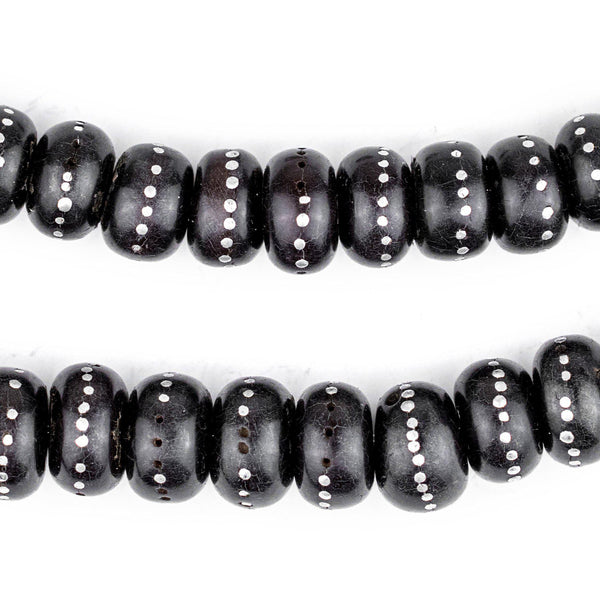 Rondelle Antique Inlaid Yemenite Black Coral Beads - The Bead Chest