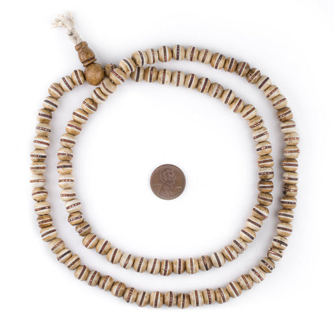 Copper-Inlaid Rustic Bone Mala Beads (8mm) - The Bead Chest