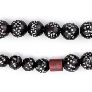 Round Antique Inlaid Yemenite Black Coral Beads - The Bead Chest