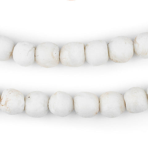 White Round Sandcast Beads (11mm) - The Bead Chest