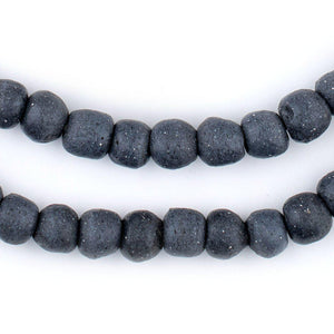 Dark Grey Opaque Recycled Glass Beads (9mm) - The Bead Chest