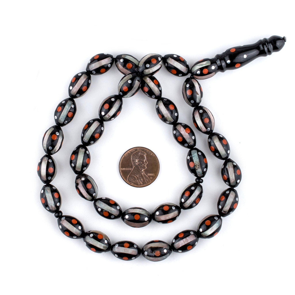Red Dotted Inlaid Oval Arabian Prayer Beads (14x9mm) - The Bead Chest
