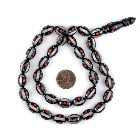 Image of Red Dotted Inlaid Oval Arabian Prayer Beads (14x9mm) - The Bead Chest