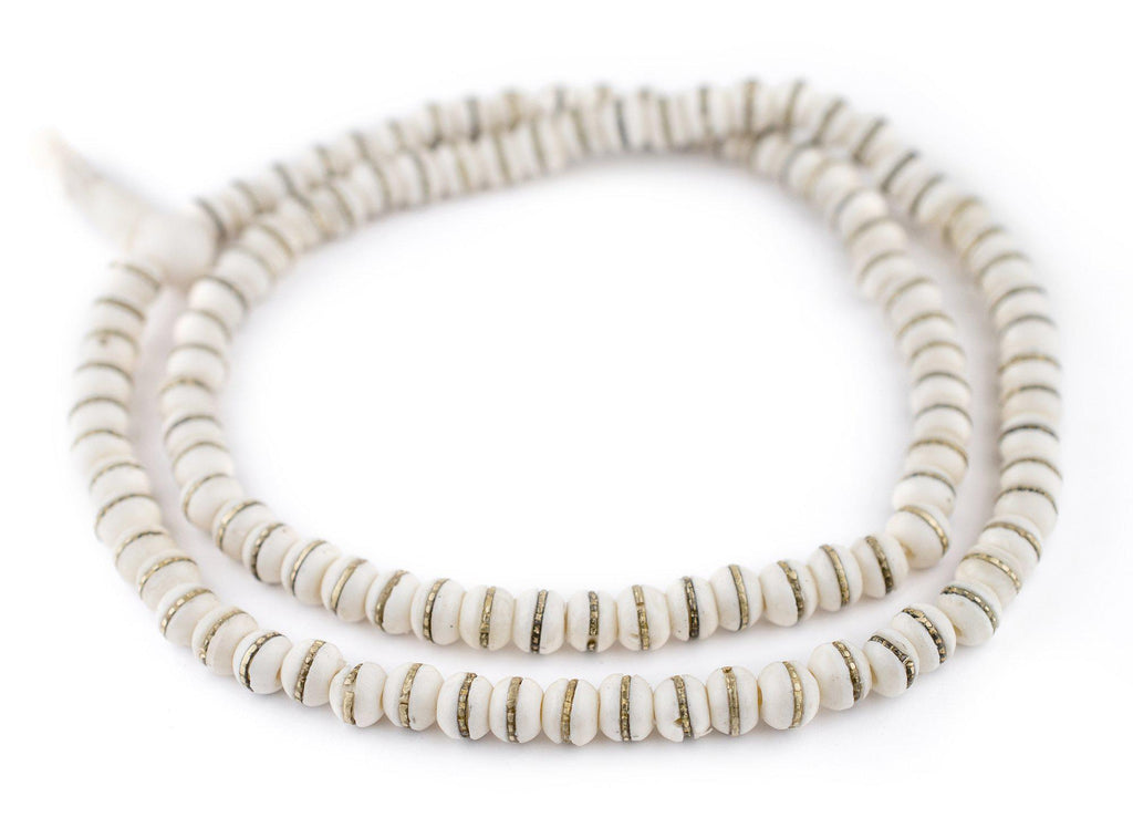 Brass-Inlaid White Bone Mala Beads (8mm) - The Bead Chest