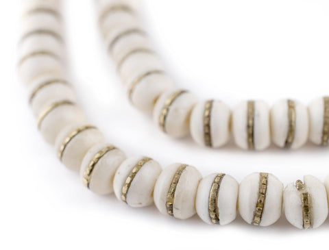 Image of Brass-Inlaid White Bone Mala Beads (8mm) - The Bead Chest
