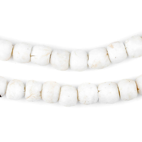 White Round Sandcast Beads (9mm) - The Bead Chest