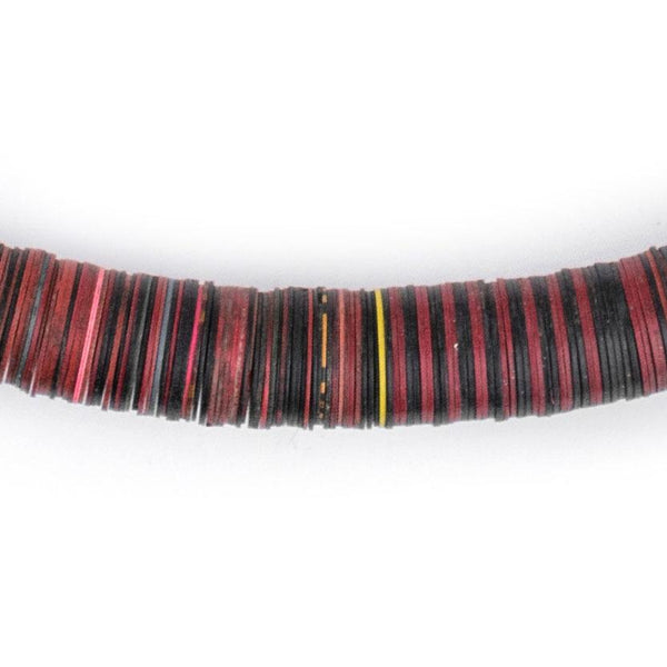 Red & Black Vintage Vinyl Phono Record Beads (14mm) - The Bead Chest