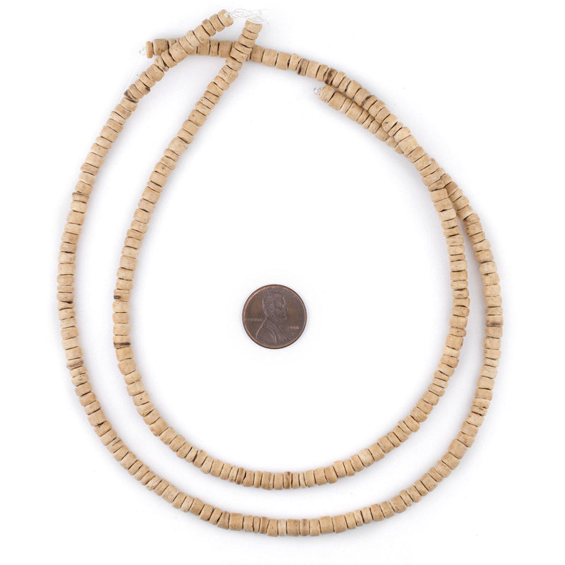 Cream Disk Coconut Shell Beads (5mm) - The Bead Chest