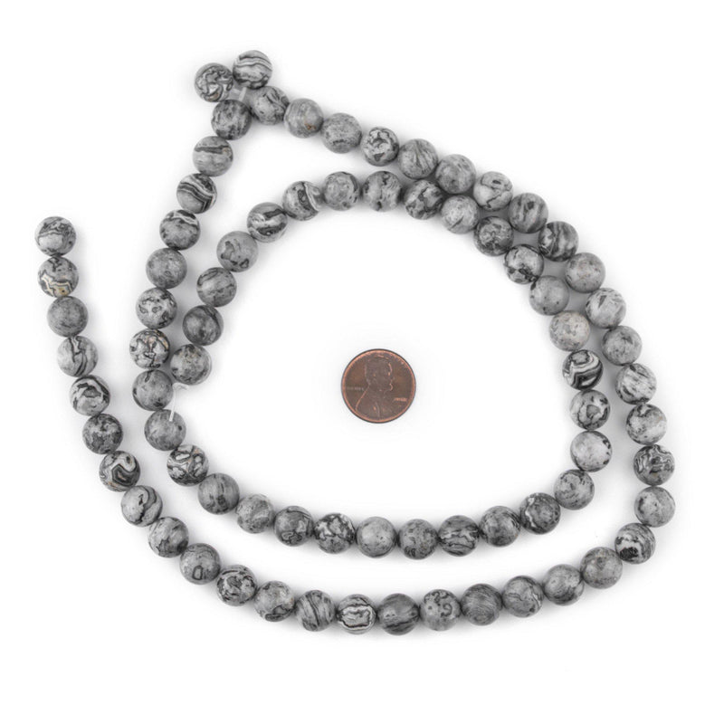 Round Silver Leaf Jasper Beads (10mm) - The Bead Chest