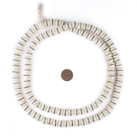 Brass-Inlaid White Bone Mala Beads (10mm) - The Bead Chest