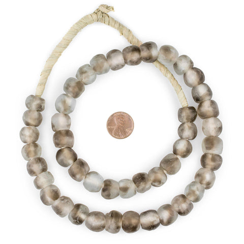 Image of Groundhog Grey Swirl Recycled Glass Beads (14mm) - The Bead Chest