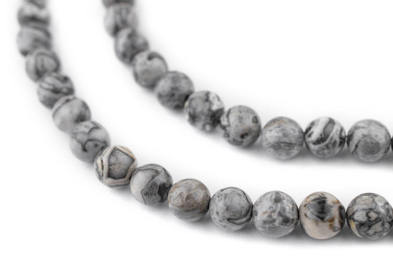 Round Silver Leaf Jasper Beads (8mm) - The Bead Chest