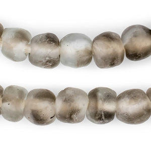 Groundhog Grey Swirl Recycled Glass Beads (14mm) - The Bead Chest