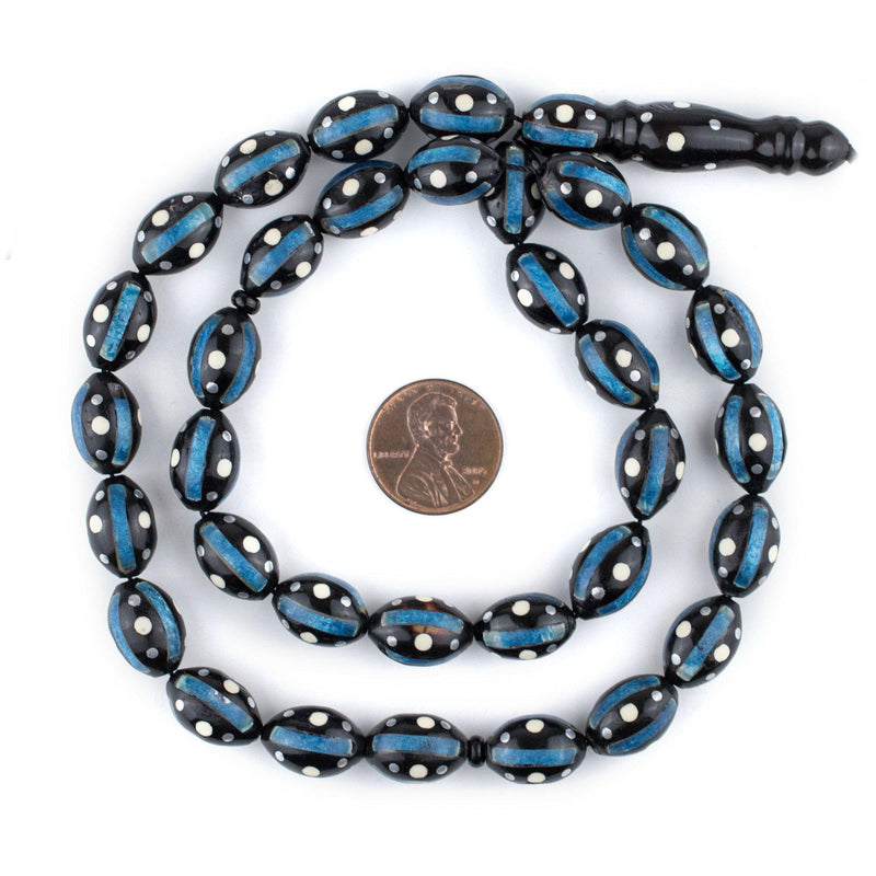 Blue & White Inlaid Oval Arabian Prayer Beads (14x9mm) - The Bead Chest