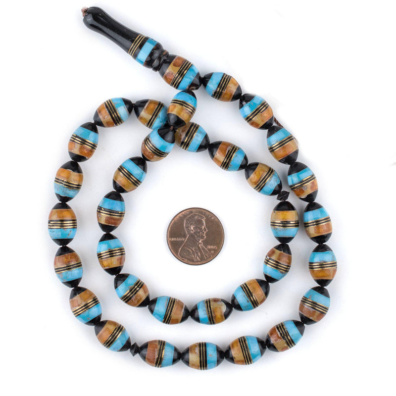 Turquoise & Amber Color Inlaid Arabian Prayer Beads (14x9mm) - The Bead Chest