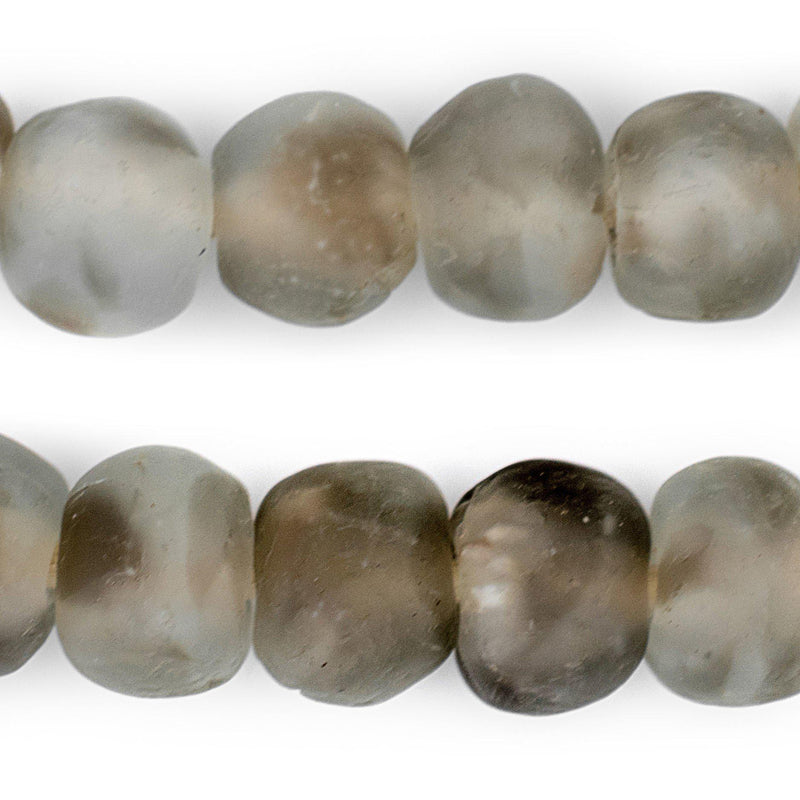 Groundhog Grey Swirl Recycled Glass Beads (18mm) - The Bead Chest