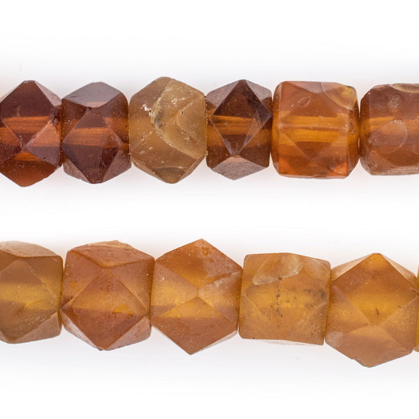 Old Amber Vaseline Cube Trade Beads - The Bead Chest